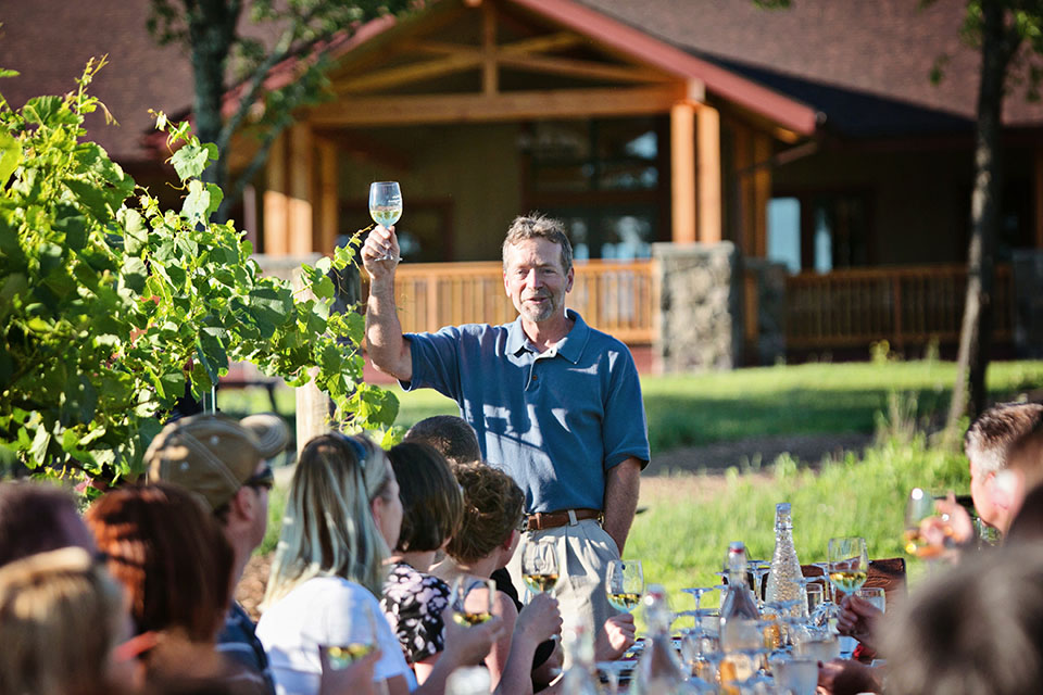 Vineyard Owner Randy Rice gives a toast