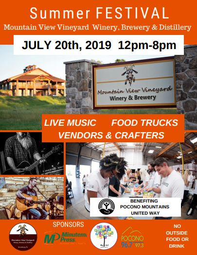 July 20th  Summer Festival 12-8 PM  We're hosting our First Annual Summer Festival! FREE Live Music, Food Trucks, Vendors & Crafters*! A portion of the proceeds will benefit the Pocono Mountains United Way. Come join us for a day full of good food and drinks while supporting your local community!  * There are still some vendor spaces available. If interested, please contact Alex at info@mountainviewvineyard.com *