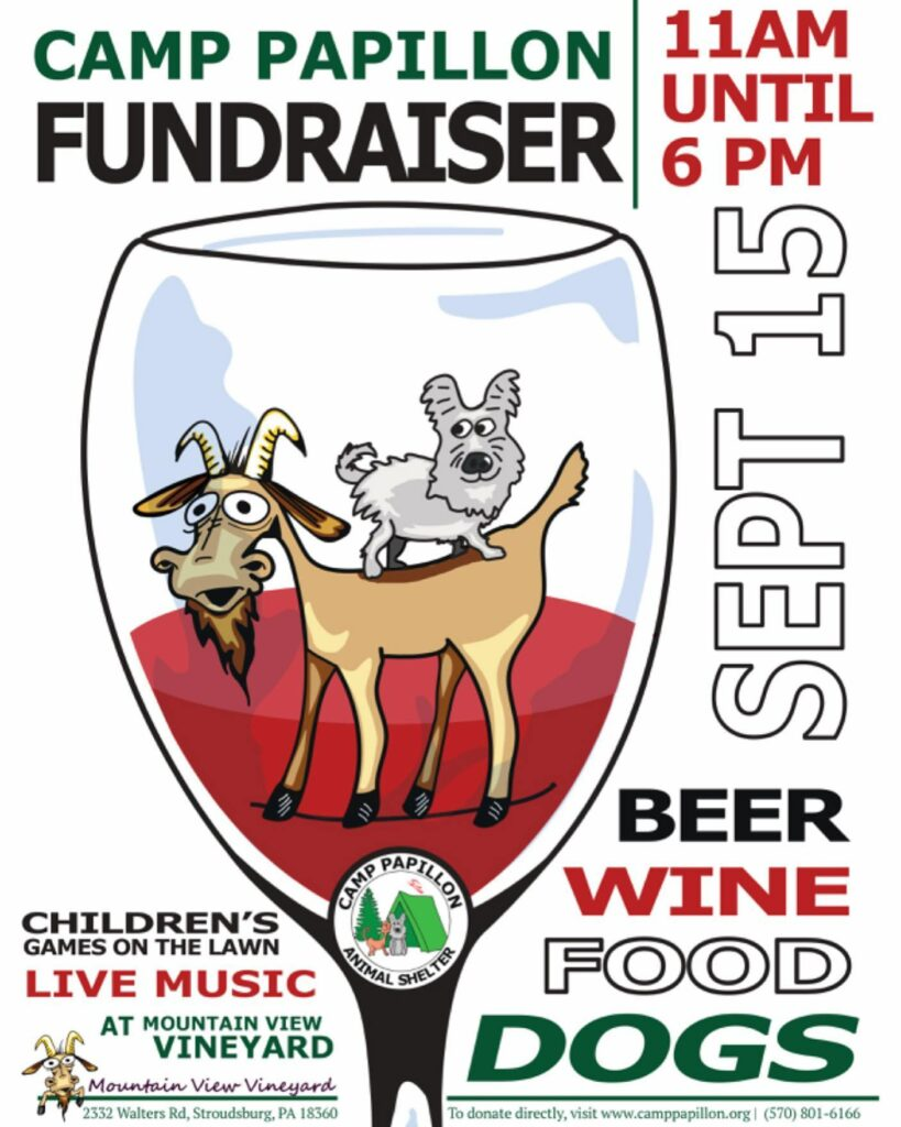 Join Camp Papillon for their Fundraiser at  Mountainview Vineyard, Winery and Brewery Fundraiser September 15th from 11 am - 6 pm.  Food, Live Music, Family friendly games, wine and beer and more!