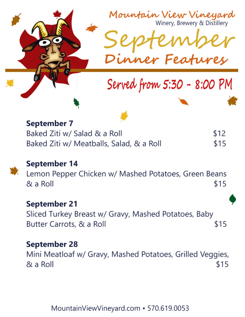 Large September Dinner Features