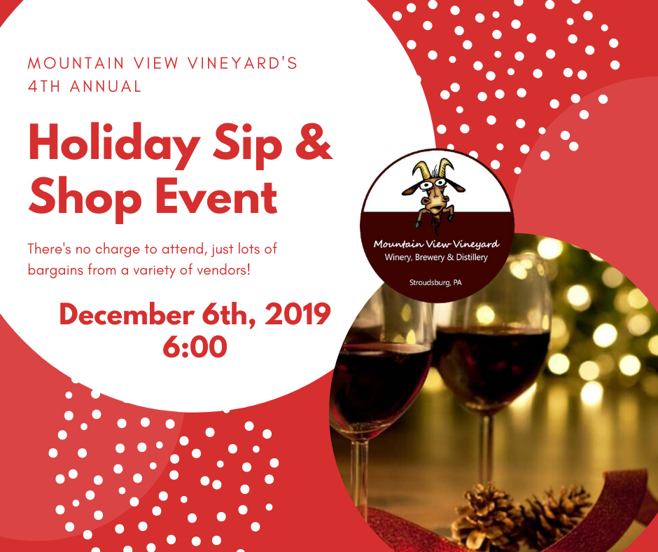 Join us for our 4th Annual Holiday Sip & Shop Event! There's no charge to attend, just lots of bargains from a variety of vendors! Want to be a vendor?  There are still a few tables open.  Vendor fee is $30 & a $25 door prize is suggested. Just call (570) 619-0053 to register. #SipnShop  #SeriouslyFun  #HolidayShopping  #GotGoat
